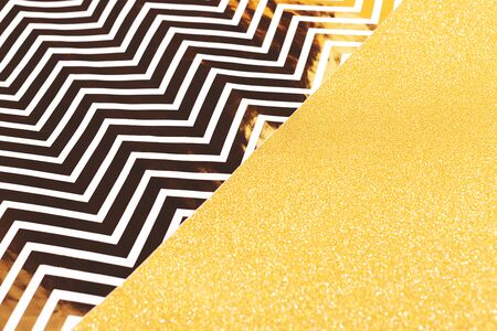 Abstract gold glitter and zigzag combination background. Christmas, New Year, holiday or party background. Stock fotó