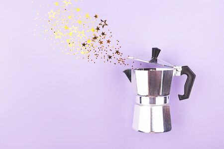 Creative shot of confetti pouring out of coffee maker. Abstract background. Copy space. Stock fotó