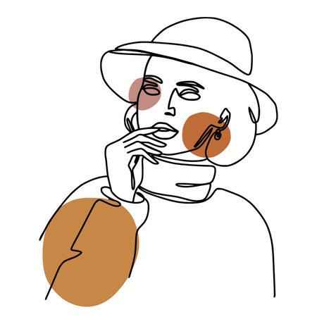 Minimal monoline girl portrait in trendy continuous art maner.