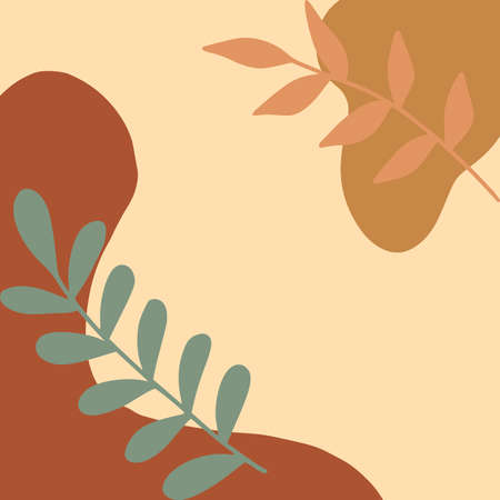 Minimal abstract background in trendy organic and botanical shapes. Trendy illustration style. Ideal poster for fashionable interior. .
