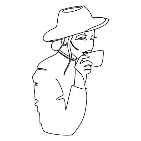 Minimal monoline portrait. A beautiful lady drinks coffee. Trendy continuous line illustration. Ideal poster for fashionable cafe interior. .