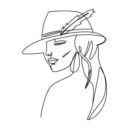 Minimal monoline girl portrait in hat. Trendy continuous line illustration. Ideal poster for fashionable interior. Autumn vibes.