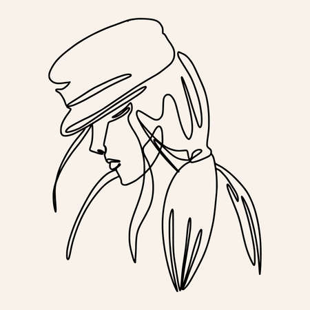 Abstract one line woman. A girl in a hat contour drawing. Modern minimal art illustration. Elegant continuous line poster.