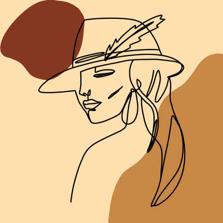 Minimal monoline girl portrait. Trendy continuous line illustration. Ideal poster for fashionable interior. . 向量圖像