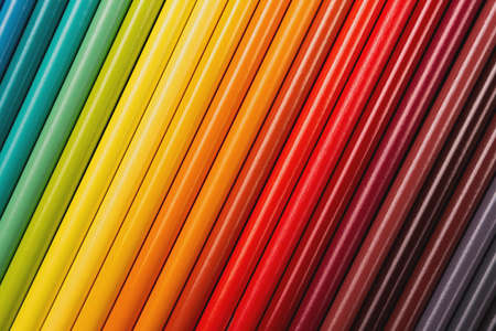 Beautiful color pencils on the blue background. 版權商用圖片