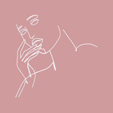 Continuous line woman with fashion sensual portrait. Minimal design, freehand composition, modern abstract style. Beauty concept.