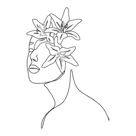 One line woman and lily flowers fashion portrait. Minimal design, freehand composition, modern abstract style. Beauty fashion female portrait with lily flowers details. 向量圖像