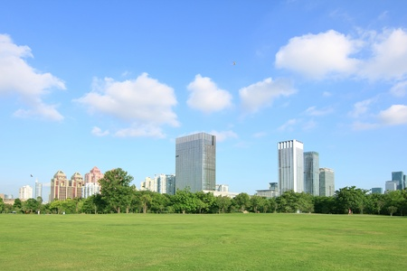 City park under blue sky with Downtown Skyline in the Background