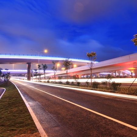 sky scape: night view of the bridge and city in shenzhen china