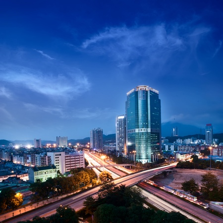 The urban landscape at night and through the city traffic Stock Photo - 10249511