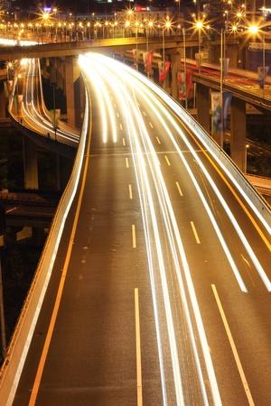 Light rail on the overpass at night photo