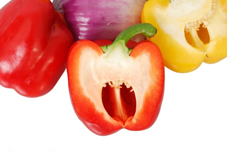 more mature: Yellow and red peppers, onions, isolated on white background Stock Photo