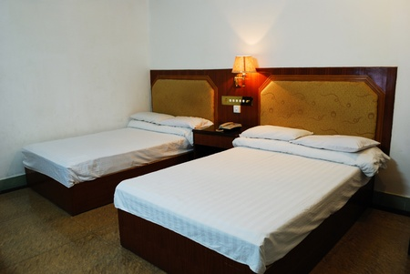 Hotels inside the white double bed, photo