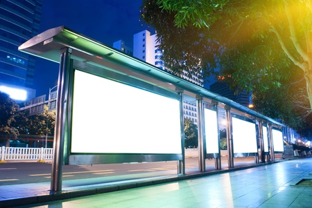 advertising board: Blank billboards on to the bus station Stock Photo