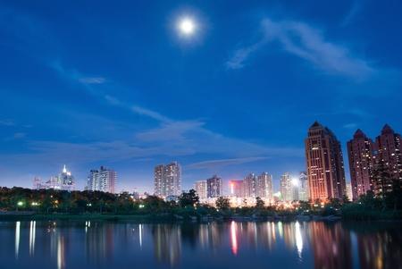 company building: China city of Shenzhen at night Stock Photo