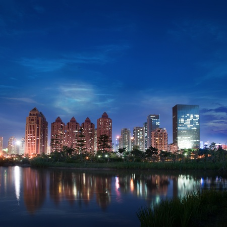 China city of Shenzhen at night photo