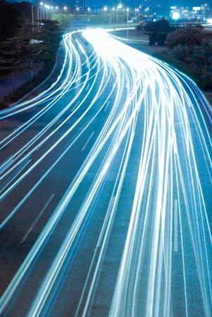 highspeed: the light trails on the modern building background in shanghai china. Stock Photo