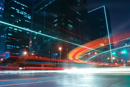 apartment market: Shenzhen, China, and urban transport in the night Stock Photo