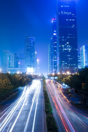 Shenzhen, China, and urban transport in the night Stock Photo - 11392495