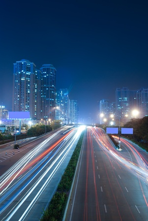 Shenzhen, China, and urban transport in the night photo