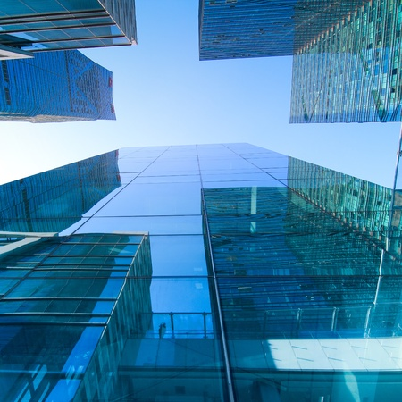 commercial property: transparent glass wall of office building
