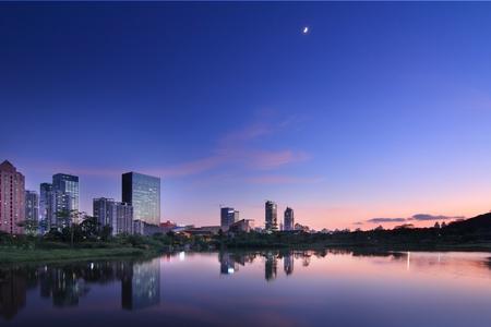 lake district: Modern urban landscape in the twilight