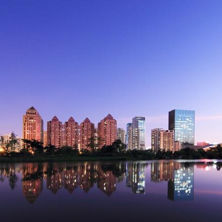 Modern urban landscape in the twilight photo