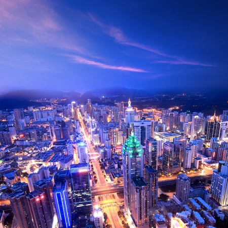 shenzhen: Aerial view of city at night