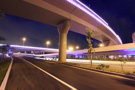 night highway: night view of the bridge and city in shenzhen china