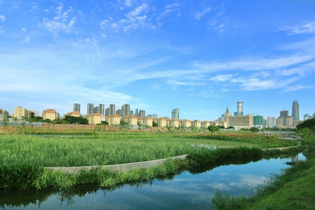 Park and the modern city skyline photo