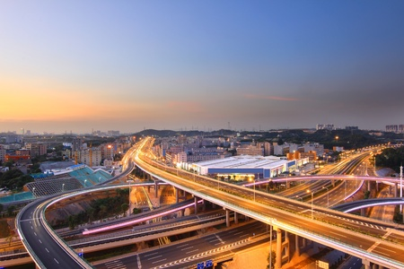 Overpass and the citys night in Shenzhen, China photo