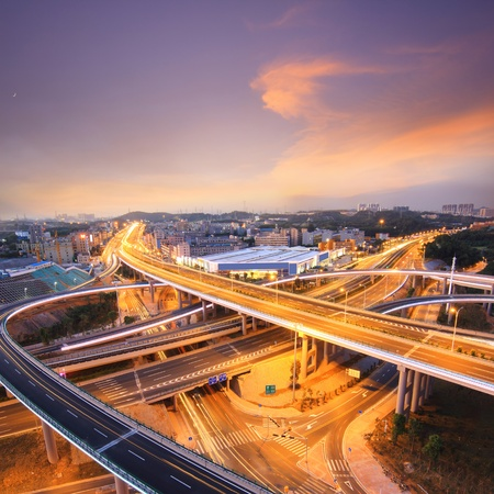 guangdong: Overpass and the citys night in Shenzhen, China