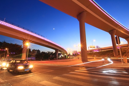 Beautiful landscape in the night overpass photo