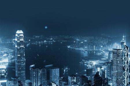 Skyline di Hong Kong di notte
