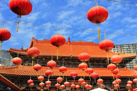 red lantern in chinese temple photo