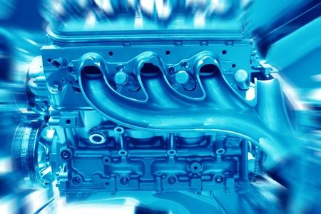 Complex engine of modern car interior view photo