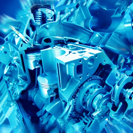 Complex engine of modern car inter view Stock Photo - 12222705