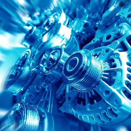 diesel: Complex engine of modern car interior view