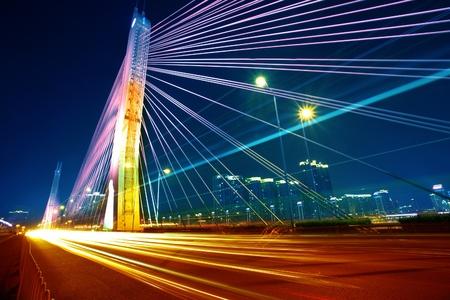 night view of a modern highway bridge photo