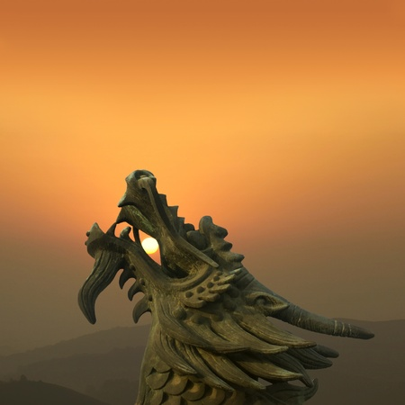 Chinese dragon at dusk in the background photo