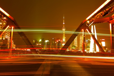 night traffic in shanghai garden bridge photo