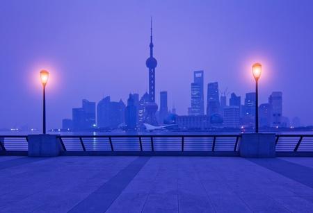 Stock Photo: beautiful night view of shanghai skyline photo