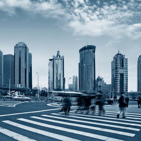 the street scene of the century avenue in shanghai,China. photo