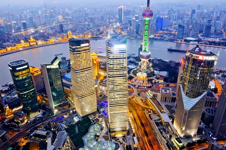vista aérea de Shanghai en la noche del Edificio Jinmao