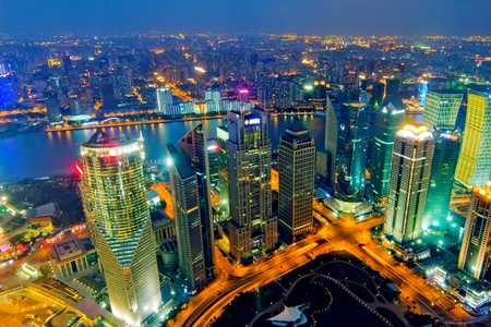 aerial view city: aerial view of shanghai at night from jinmao building
