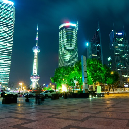 beautiful night scene in shanghai financial center photo
