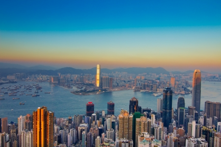 Hong Kong skyline at night Stock fotó