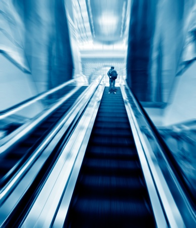 Escalator in an office building photo
