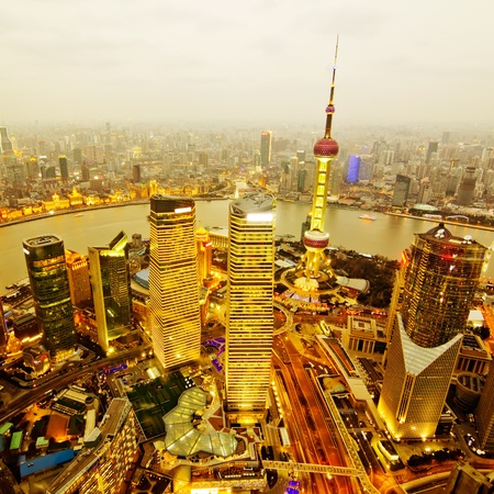 shanghai china: aerial view of shanghai at night from jinmao building