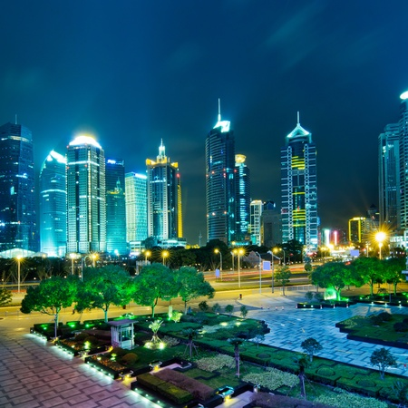beautiful night scene in shanghai financial center Stock Photo - 13511561